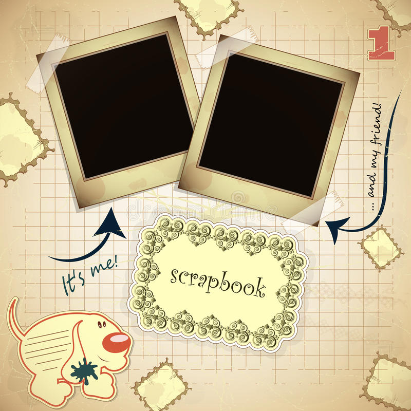 Vintage card with photo frame - scrapbook style stock illustration