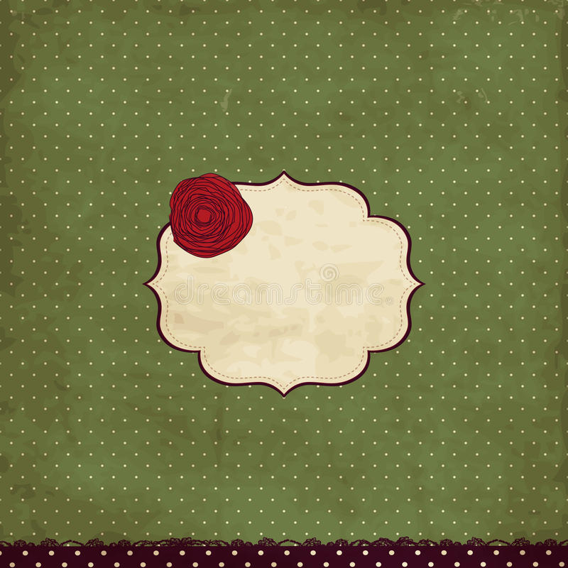 Vintage card with rose royalty free illustration