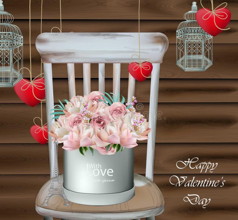 Vintage card with rose flower bouquet on a wood chair. Valentine day greeting card Vector realistic. Illustration stock illustration