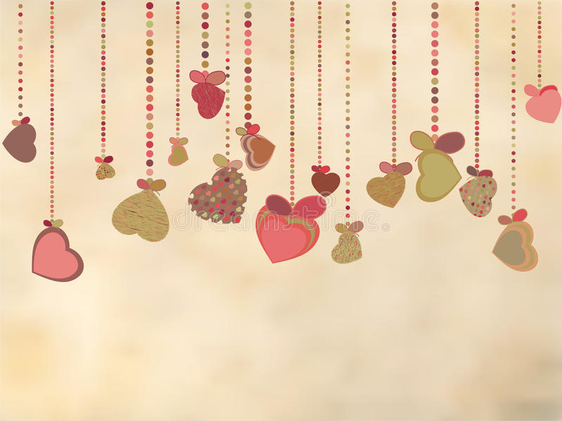 Vintage card with valentines hearts. EPS 8 vector illustration