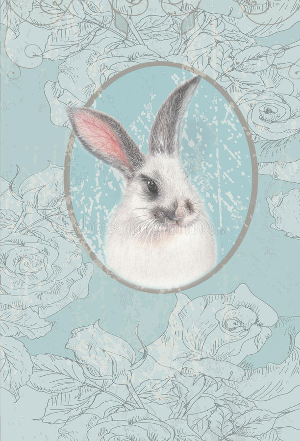 Vintage card with white bunny. Watercolor vintage card with blue floral background and white bunny vector illustration