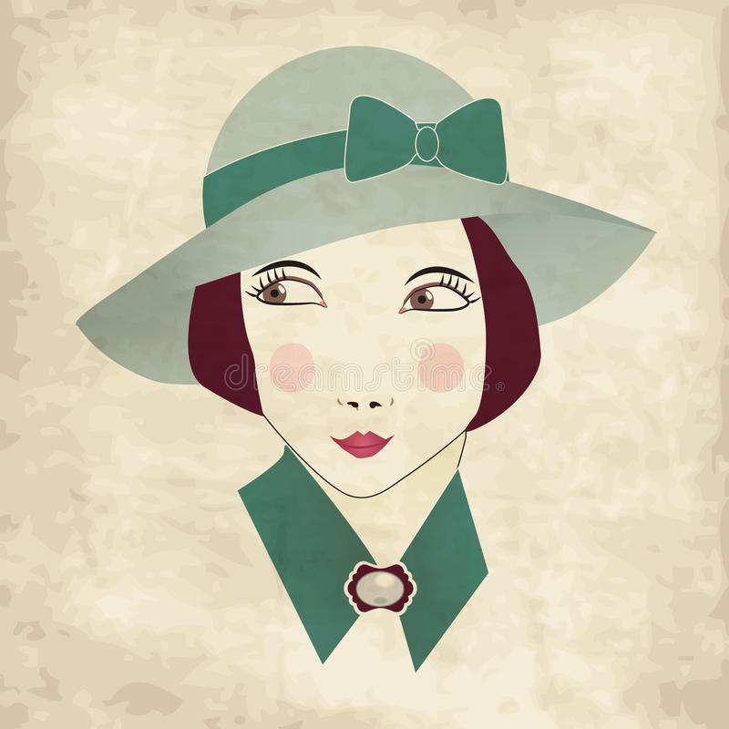 Vintage card with woman. Vintage woman in a hat royalty free illustration