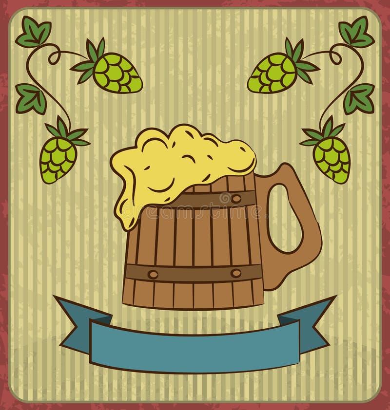 Vintage card with wooden mug beer. Illustration vintage card with wooden mug beer - vector stock illustration