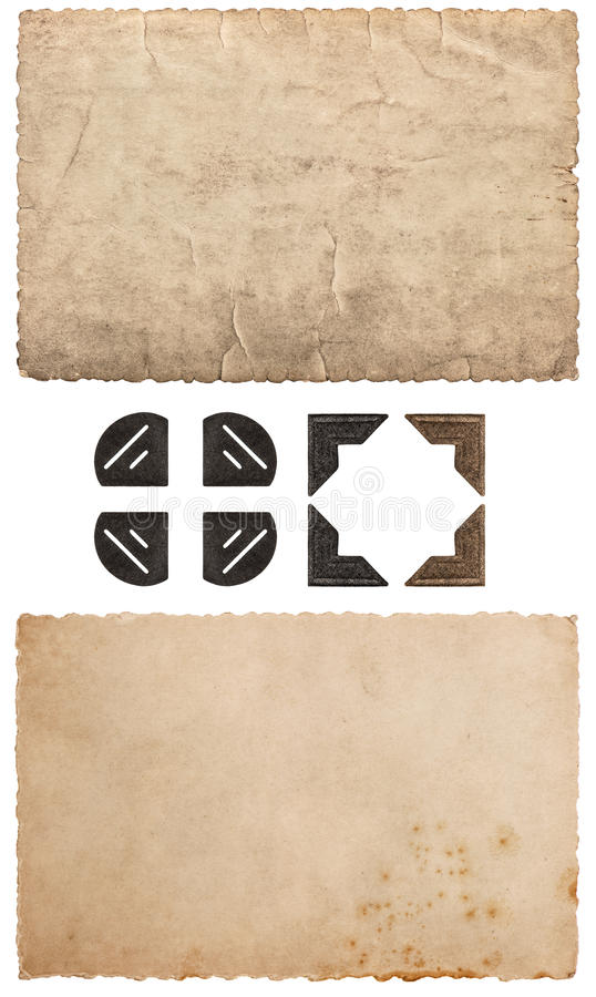 Vintage cardboard as frame for photos and pictures. used paper royalty free stock photo