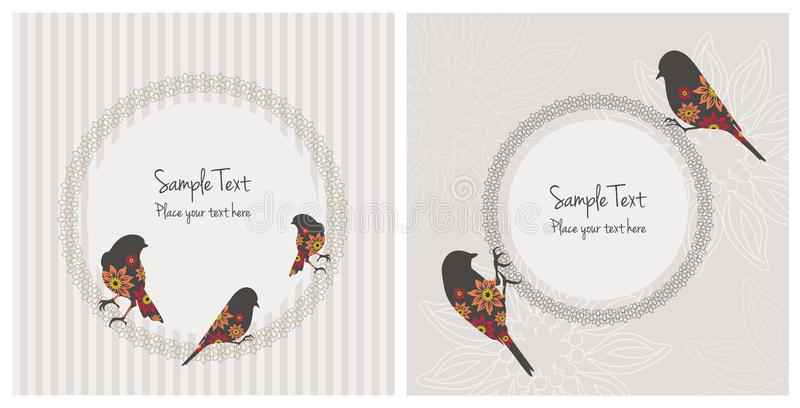 Vintage Cards With Birds and Flowers vector illustration