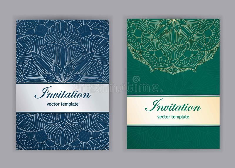 Vintage cards with Floral mandala pattern and ornaments. Islam, Arabic, Indian, ottoman motifs. Invitation or greeting card design with oriental ornament vector illustration