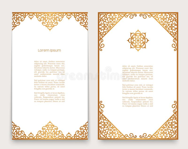 Vintage cards with gold border ornament stock illustration