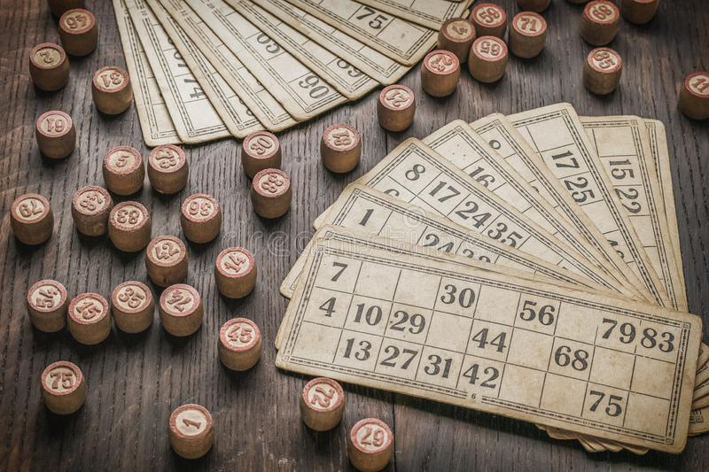 Vintage cards and kegs for the game of lotto.  royalty free stock photo