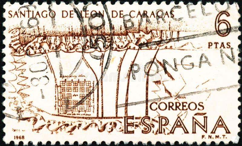 Vintage carimbo impresso em Espanha em 1968 mostra History of Discovery and Conquest of America fotografia de stock