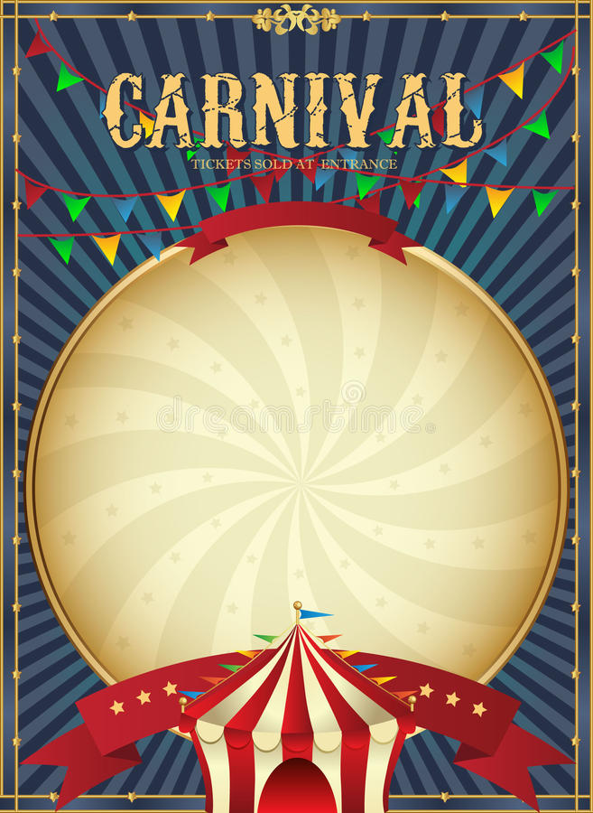 Free Vintage Carnival. Circus Poster Template. Vector Illustration. Festive Background Stock Photos - 44221883