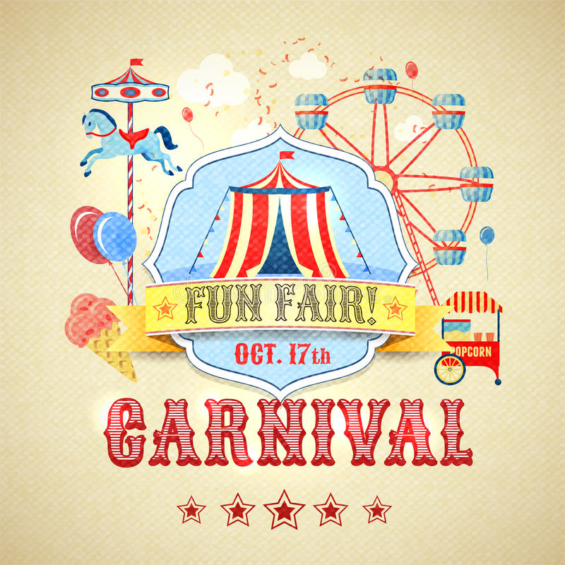 Download Vintage Carnival Poster Stock Vector Illustration Of Ferris