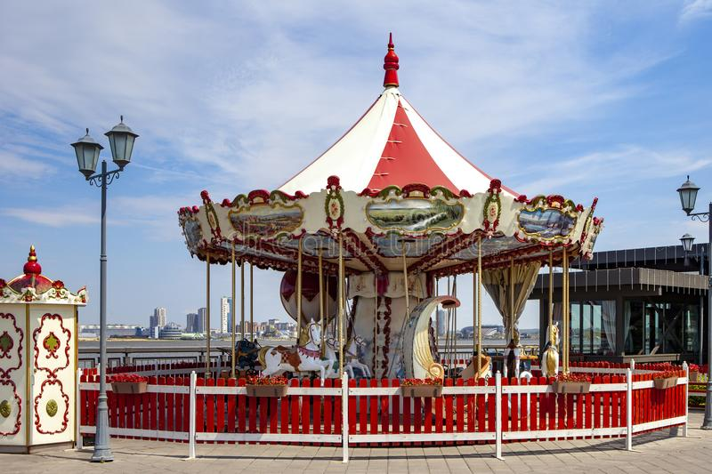 Vintage carousel with horses. A horse on a child`s vintage carousel.. royalty free stock photos