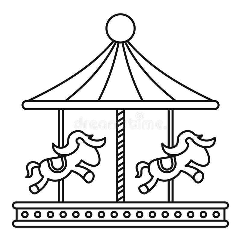 Carrousel Kleurplaat Vintage Carousel With Horses Icon Outline Style Stock