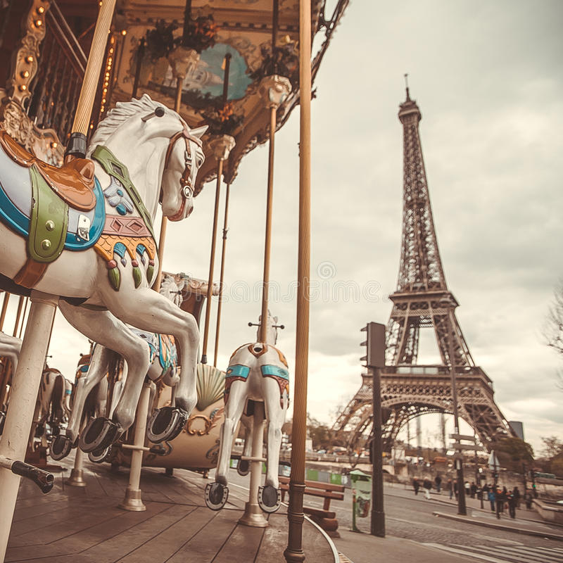 Vintage carousel in Paris stock photo. Image of color ...