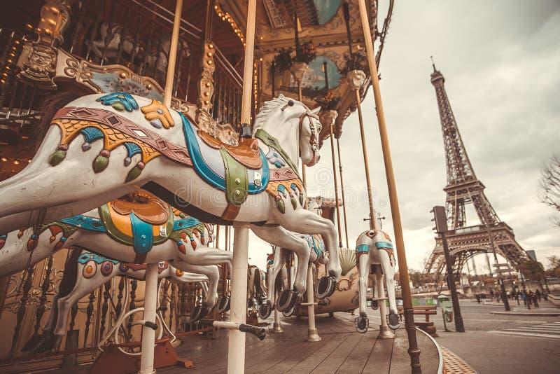 Vintage carousel in Paris stock images