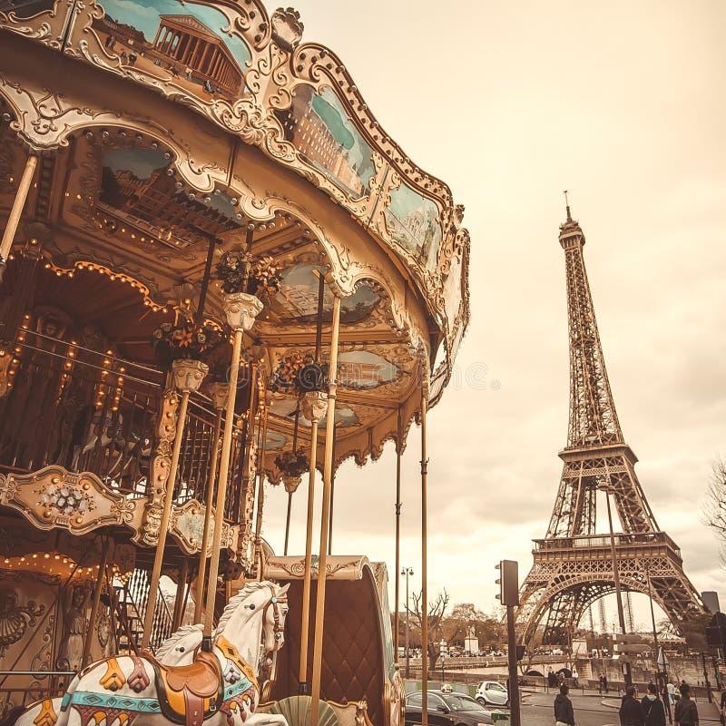 vintage carousel in paris stock image image of nostalgia 35434145. Black Bedroom Furniture Sets. Home Design Ideas