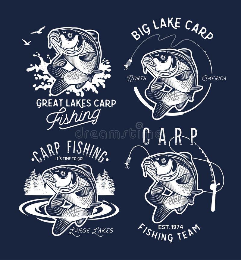 Vintage Carp Fishing Emblems and Labels. . Vector illustration. stock illustration