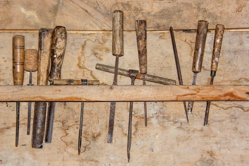 Vintage Carpenter& x27 ; outils de s photo stock