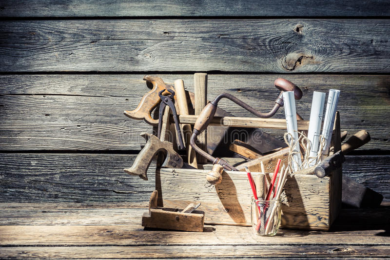 Vintage carpenter tools in a toolbox stock photography