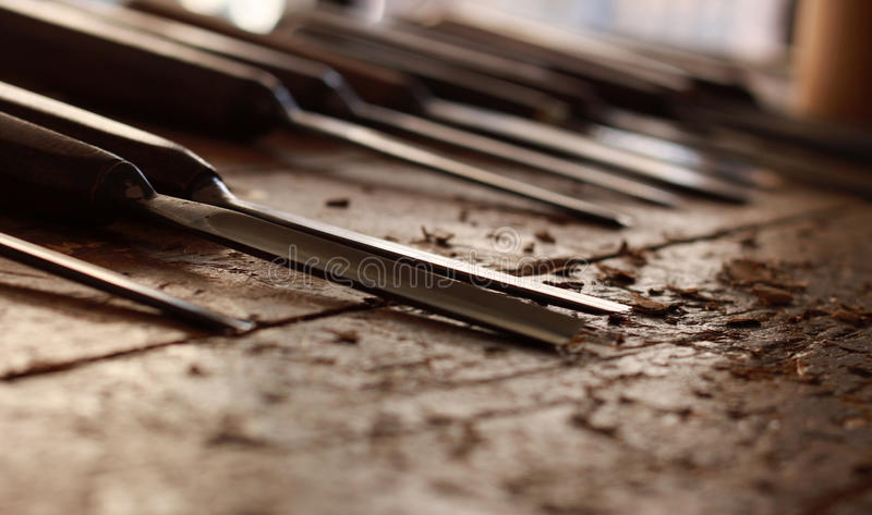 Vintage carpentry woodworking workshop royalty free stock images