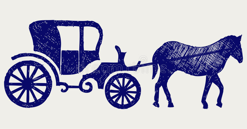 Download Vintage carriage and horse stock vector. Illustration of horseless - 27927863
