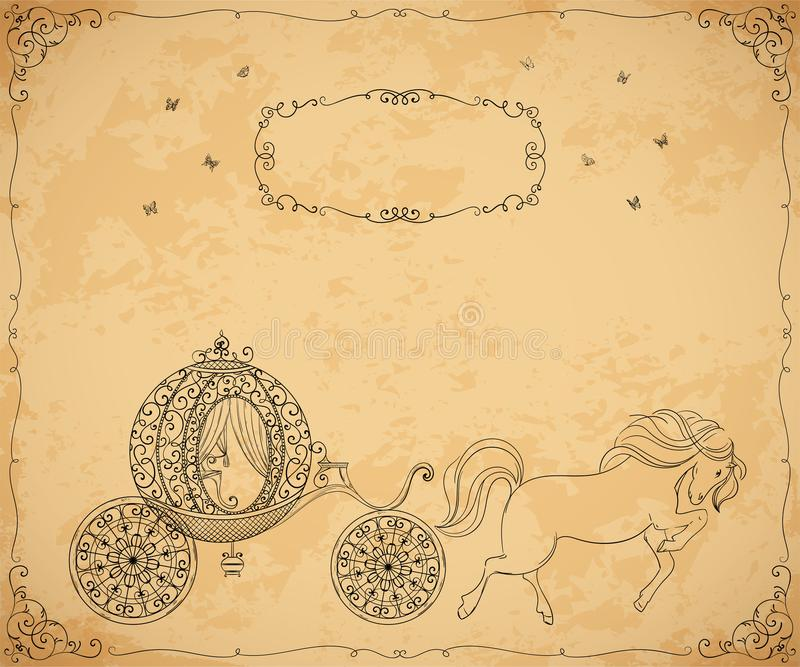 Vintage carriage with horse and frame with floral ornament on aged paper background. stock illustration