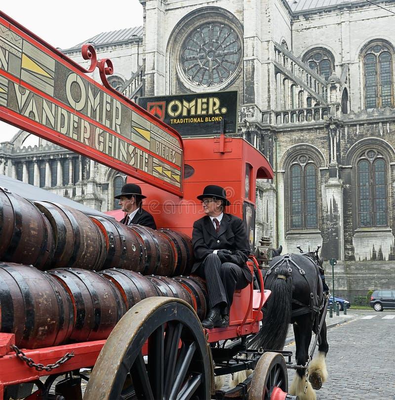 Vintage carriage of Omer beer manufacturer stock image