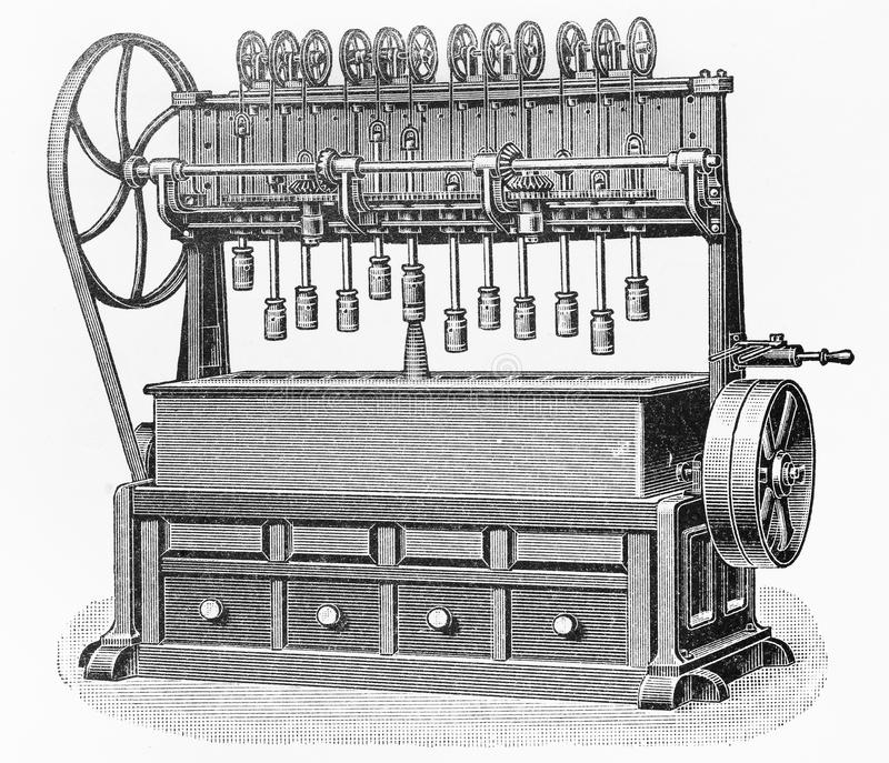 Vintage Carrots processing machine drawing. Vintage Carrots processing machine from the end of 19th century - Picture from Meyers Lexicon books collection royalty free illustration