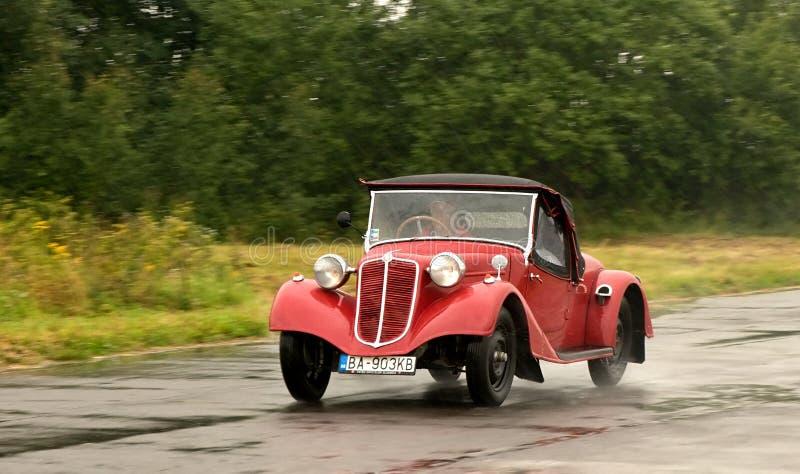Vintage cars AERO 30. Oldtimer Rallye Tatry 2014 - Slovakia August 2014 - speed test in airport - Aero 30 stock images