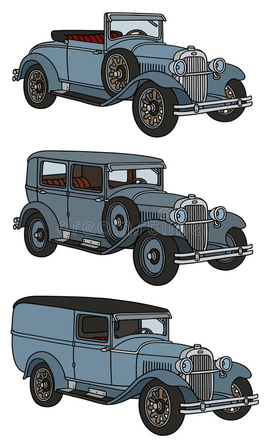 Vintage cars. Hand drawing of three vintage cars - any real models vector illustration