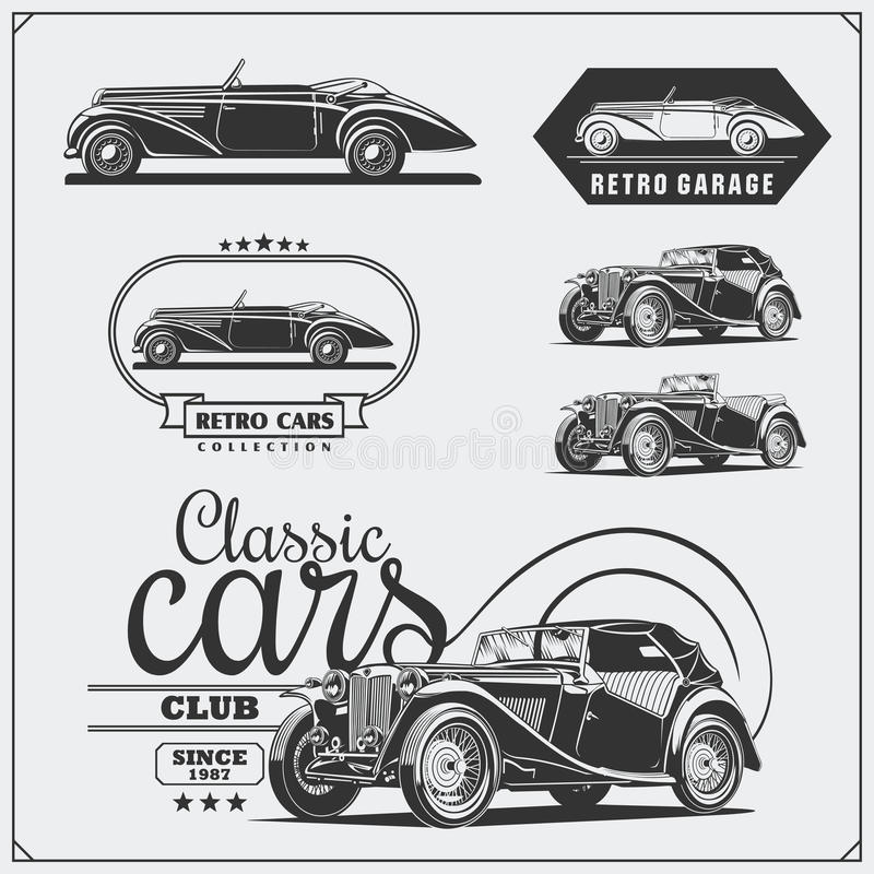 Vintage cars set. Retro cars garage. Classic muscle cars labels, emblems and design elements. royalty free illustration