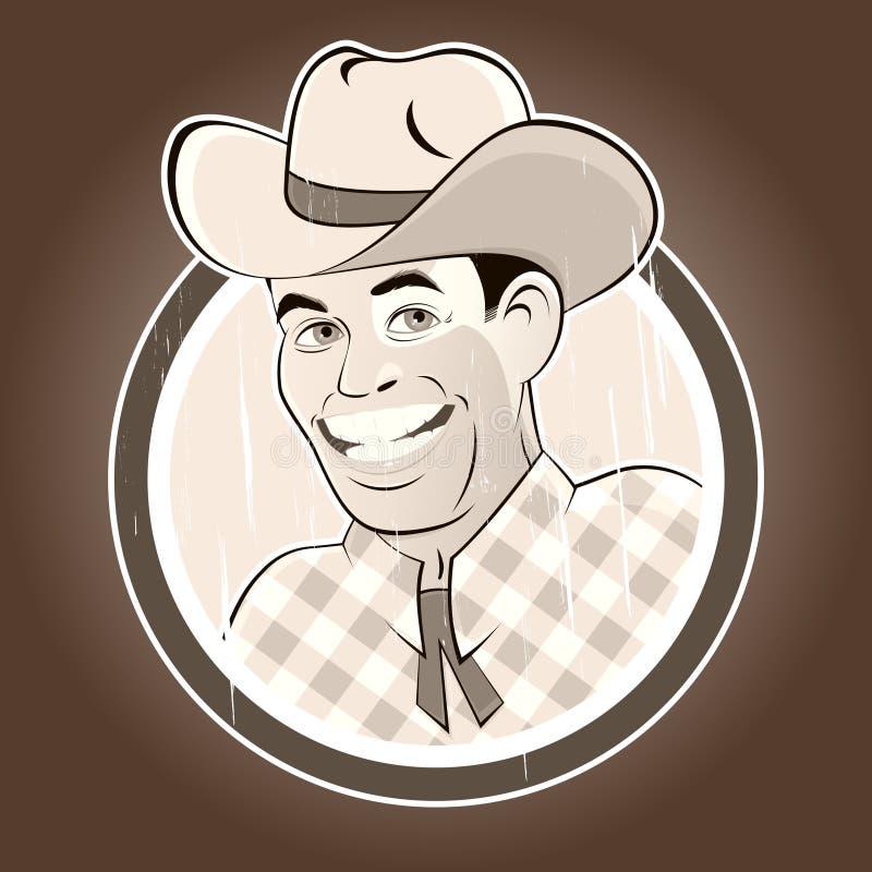 Vintage cartoon cowboy. In a badge stock illustration