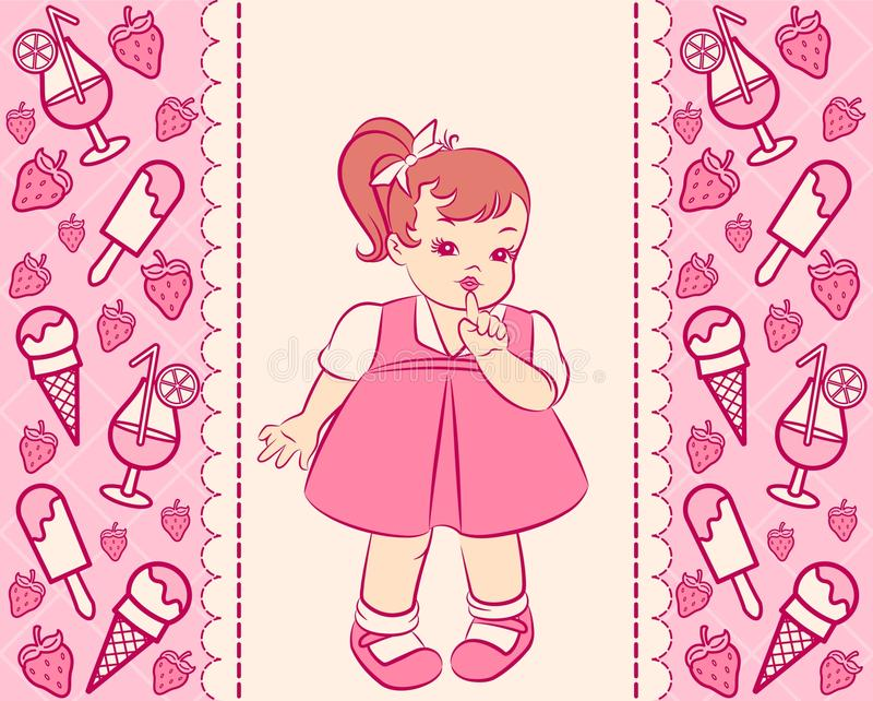 Vintage cartoon little girl royalty free illustration