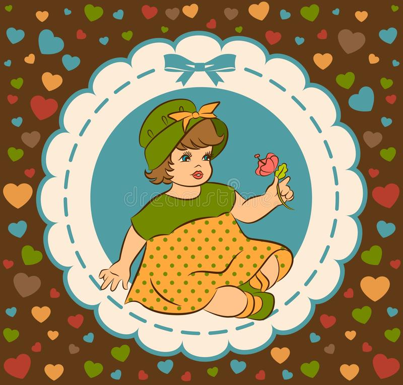 Vintage cartoon little girl. royalty free illustration