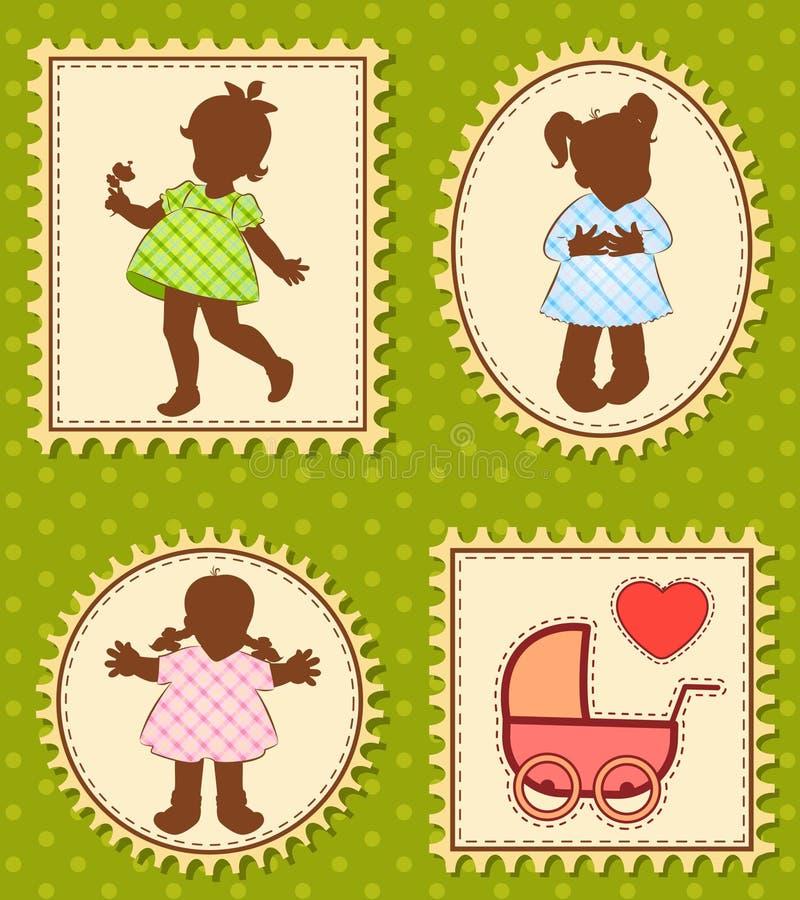 Download Vintage Cartoon Little Girls Stock Vector - Illustration of beautiful, ornate: 20457500