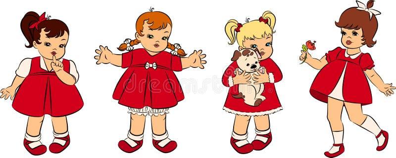 Download Vintage Cartoon Little Girls. Stock Vector - Image: 20457534