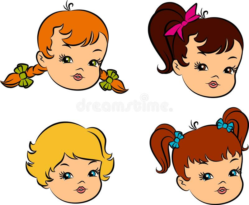 Vintage cartoon little girls. royalty free illustration