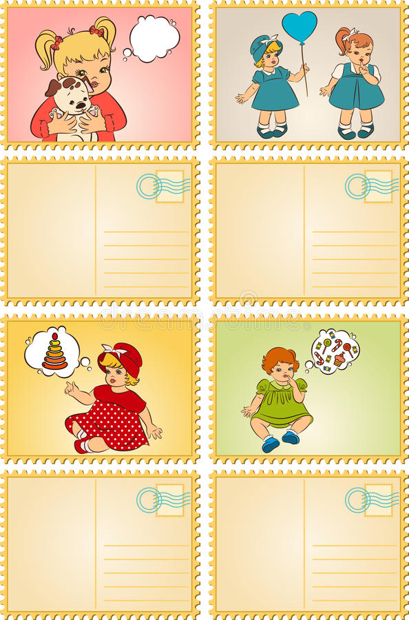 Vintage cartoon little girls. stock illustration