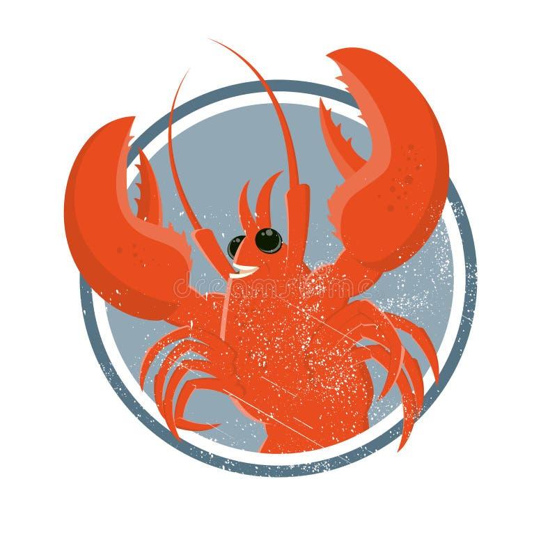 Vintage cartoon lobster vector illustration