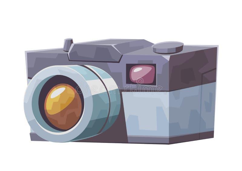 Vintage cartoon photo camera isolated on white background stock illustration