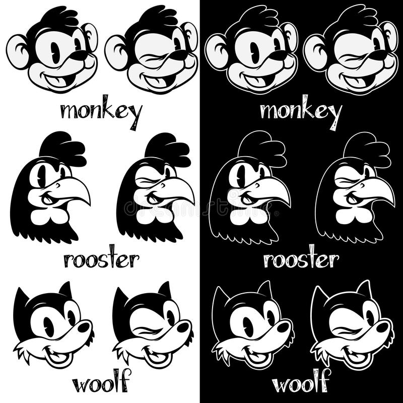 Free Vintage Cartoon. Retro Cartoon Monkey, Rooster, Woolf Characters. Stock Images - 66502534