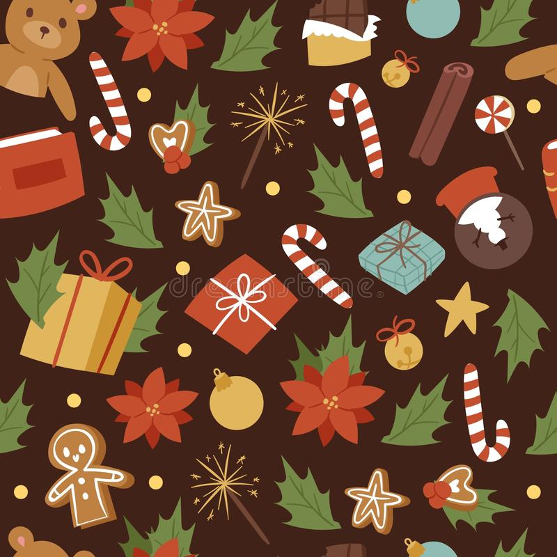 Vintage cartoon seamless vector pattern for Merry Christmas and Winter Holiday. Christmas toys. Gifts, candies, omella vector illustration
