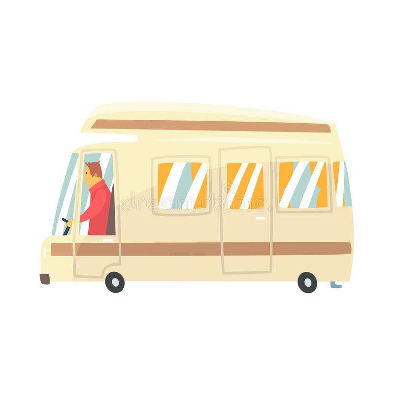 Vintage cartoon travel minibus. Camper van vector Illustration vector illustration