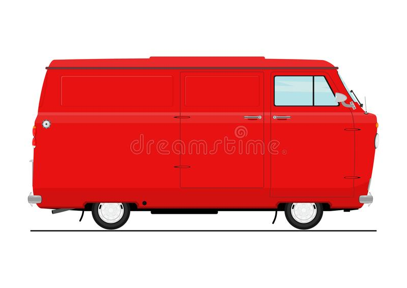 Vintage cartoon van stock illustration