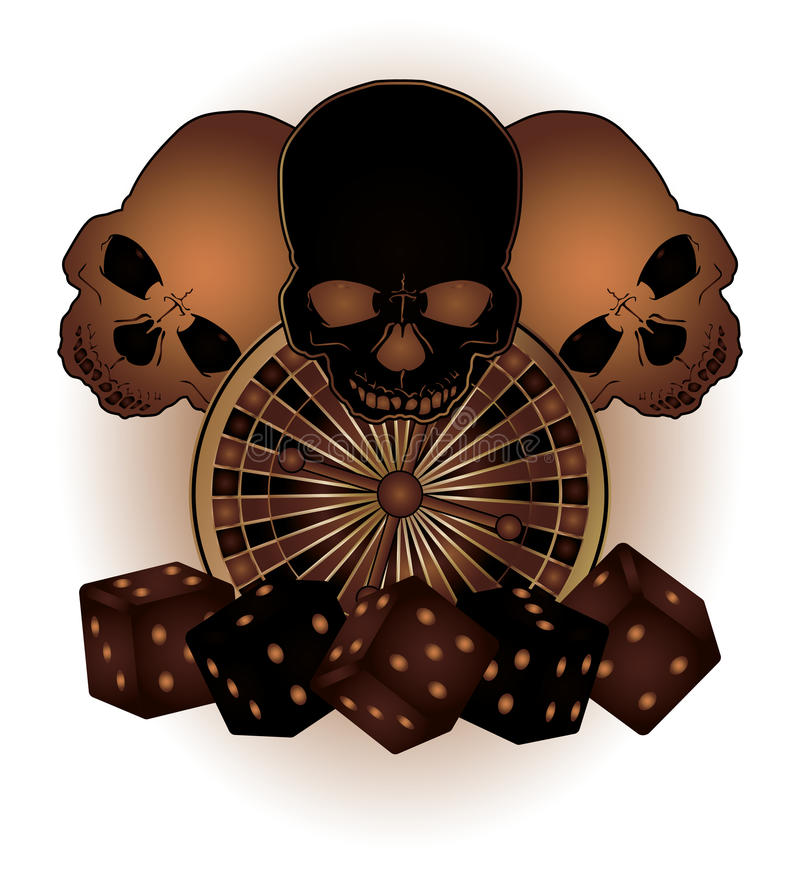 Vintage Casino background with poker elements and. Skulls vector stock illustration