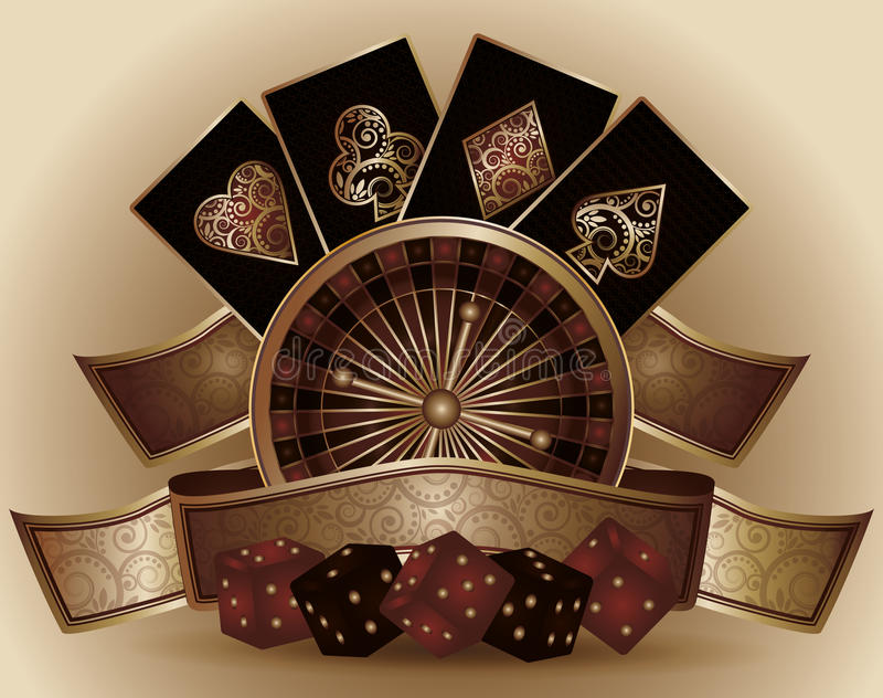 Vintage Casino card with poker elements royalty free illustration