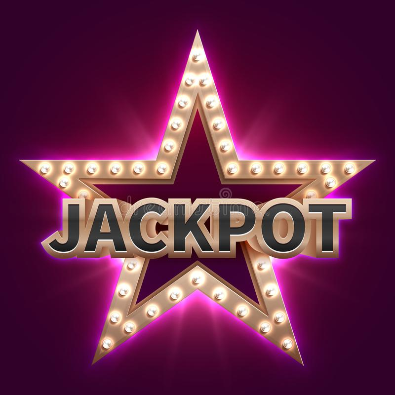 Vintage casino mega bonus poster with retro illuminated star. Showtime and jackpot vector background vector illustration