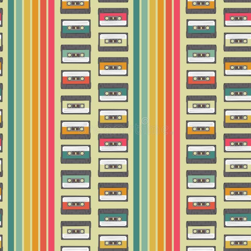 Vintage cassette seamless vector pattern design royalty free illustration