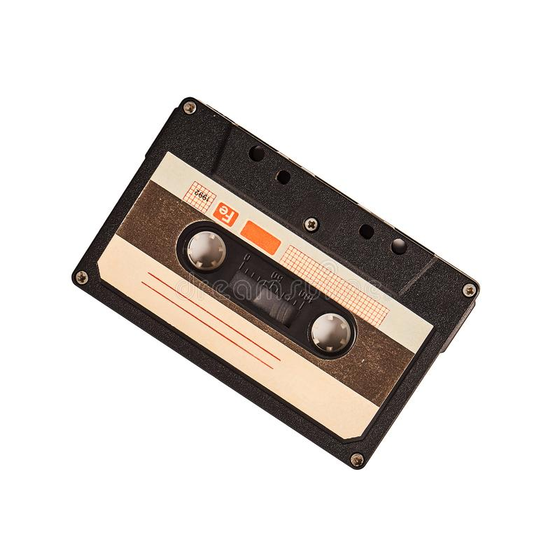 Vintage cassette tape isolated on white background royalty free stock photos