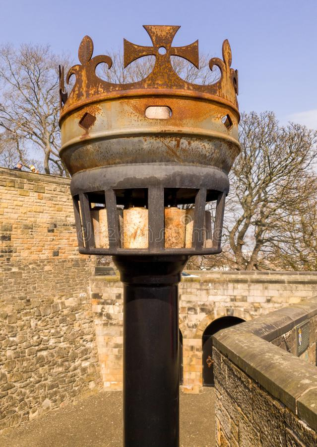 A vintage castle warning beacon. Edinburgh, Scotland - April, 17, 2019: seventeenth century armour and other weapons stock photo